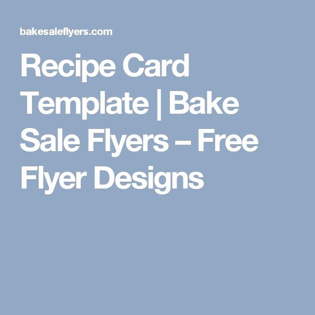Bake Sale Flyer Templates Free Inspirational Recipe Card Template