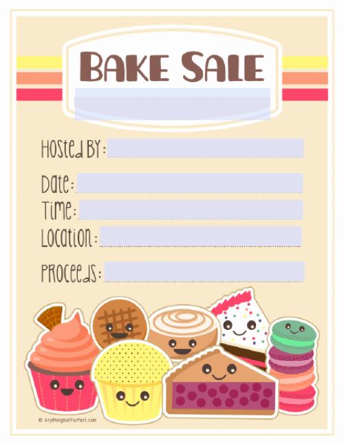 Bake Sale Flyer Templates Free Luxury Bake Sale Printable Labels Set