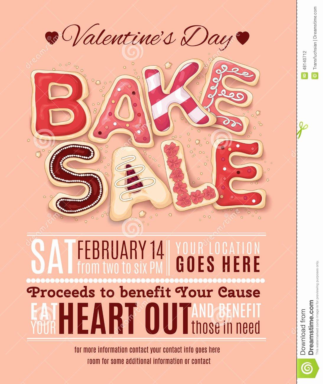 Bake Sale Flyer Templates Free New Valentines Day Bake Sale Flyer Template Stock Vector