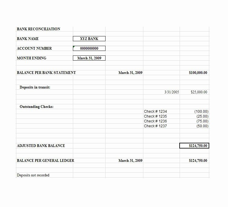 Balance Sheet Reconciliation Template Best Of Bank Reconciliation Template