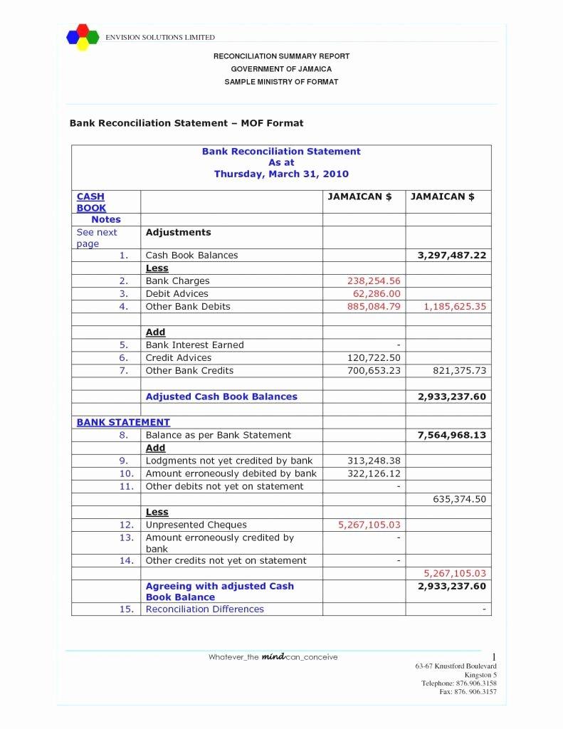 Balance Sheet Reconciliation Template Elegant Account Reconciliation Template