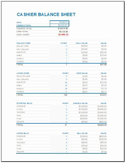 Balance Sheet Reconciliation Template Fresh Cash Drawer Balance Sheet Drawer Ideas for Your Home