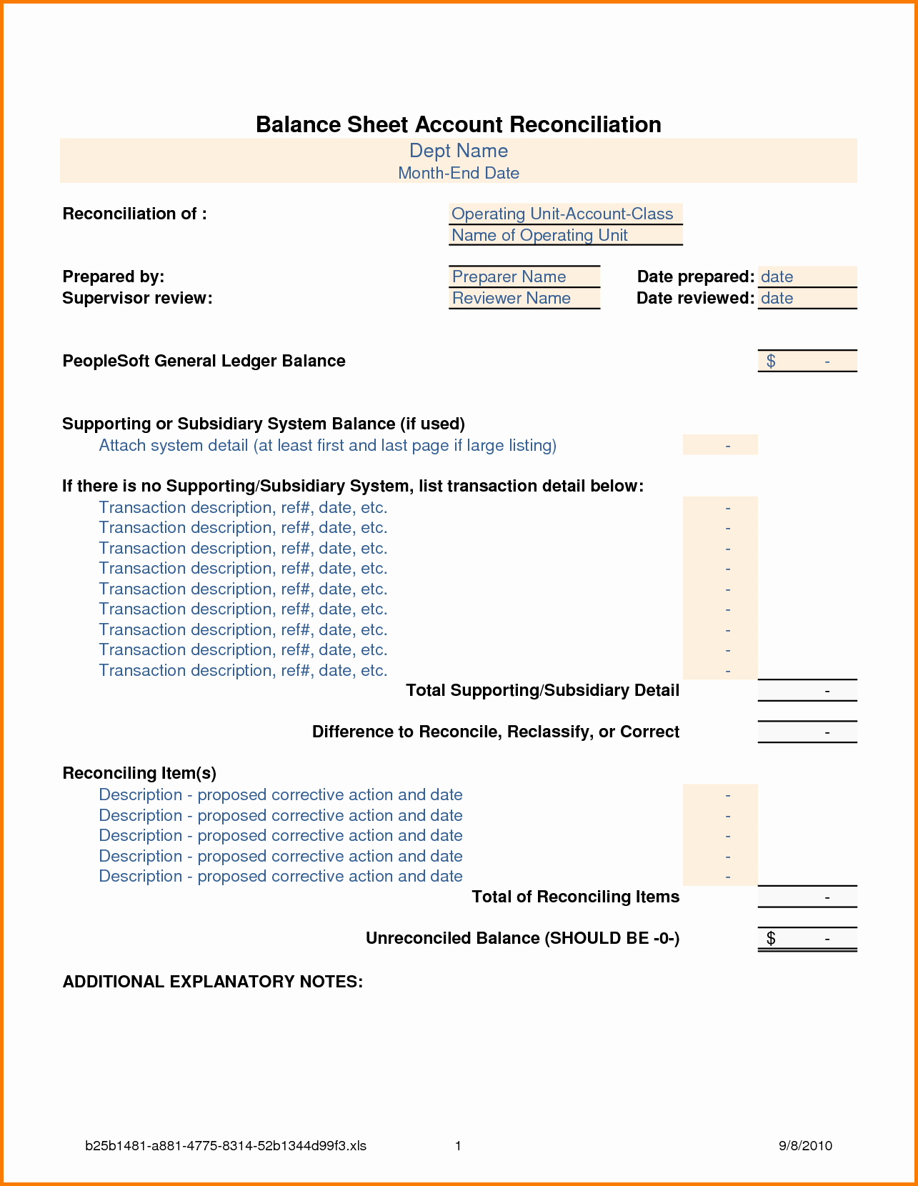 Balance Sheet Reconciliation Template Luxury Balance Sheet Reconciliation Template