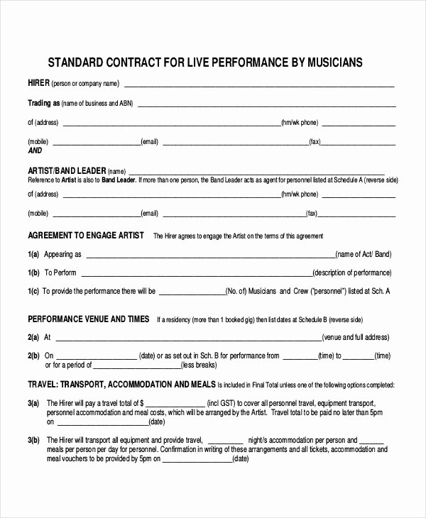 Band Contract Template Fresh 28 Contract Templates Free Sample Example format
