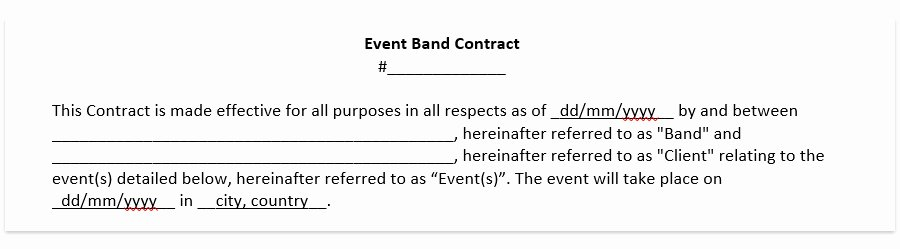 Band Contract Template Lovely Wedding Band Contract Template Wedding Dj Contract