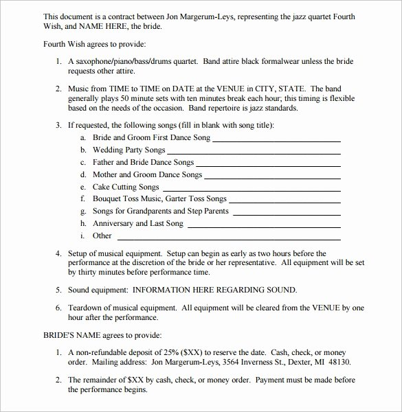 Band Contract Template New Band Contract Template 14 Samples Examples format