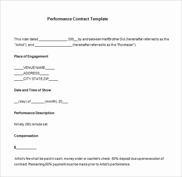 Band Contract Template New Band Performance Contract Template Invitation Template