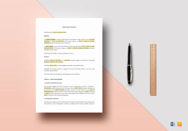 Band Contract Template Unique 13 Music Contract Templates Free Samples Examples