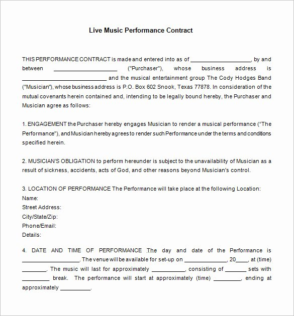Band Contract Template Unique 20 Music Contract Templates Word Pdf Google Docs