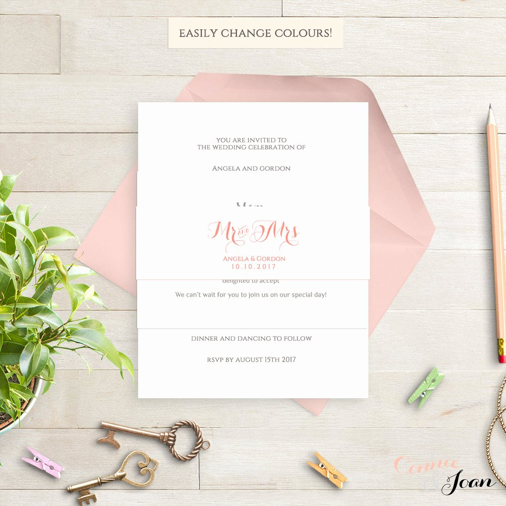 Band Input List Template Unique Invitation Belly Band Printable Template Wedding Belly Band