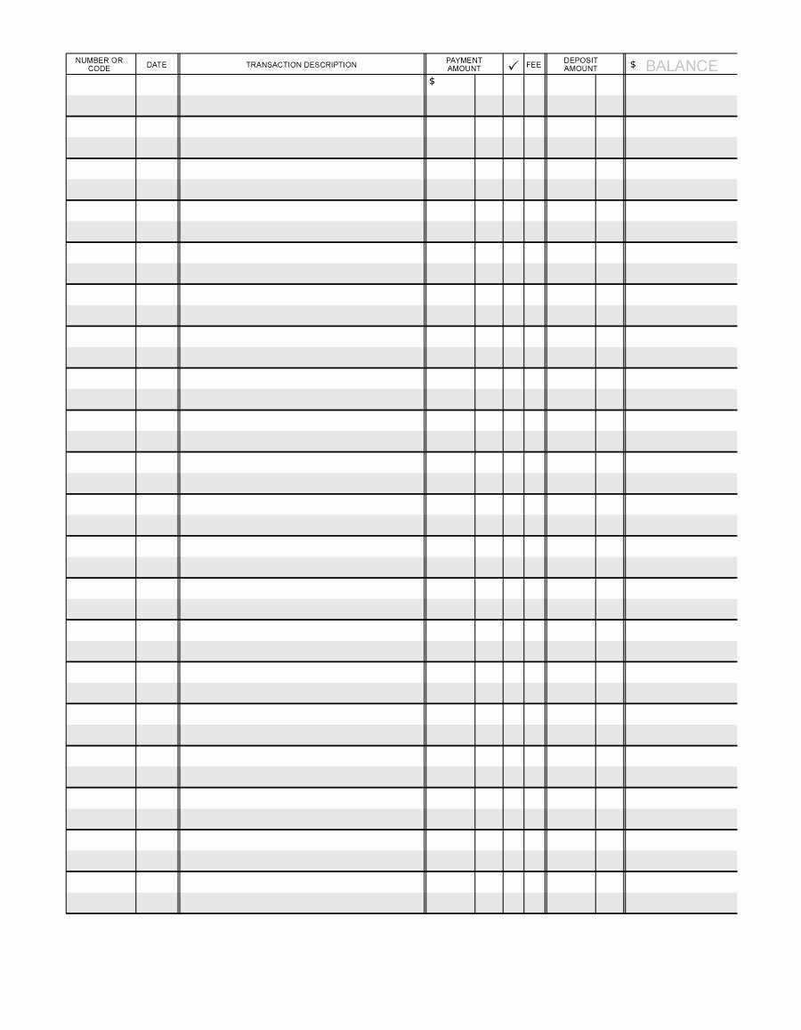 Bank Ledger Template Beautiful 37 Checkbook Register Templates [ Free Printable]