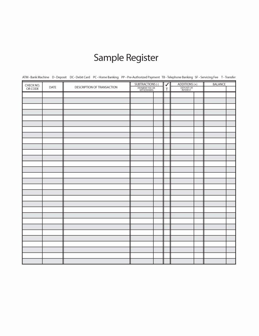 Bank Ledger Template Lovely 37 Checkbook Register Templates [ Free Printable]