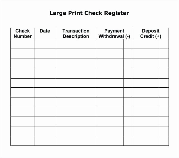 Bank Ledger Template Unique Print Check Register Template