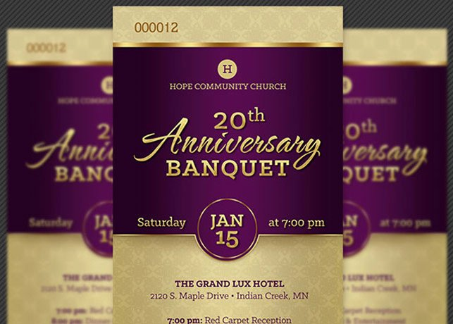 Banquet Program Template Awesome Church Anniversary Banquet Ticket Template