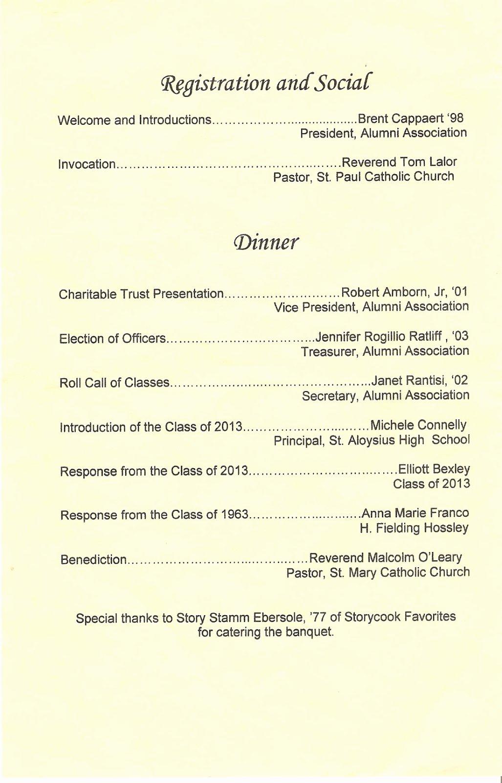 Banquet Program Template Best Of Class Of 1959 2013 St Al St Francis Alumni Banquet
