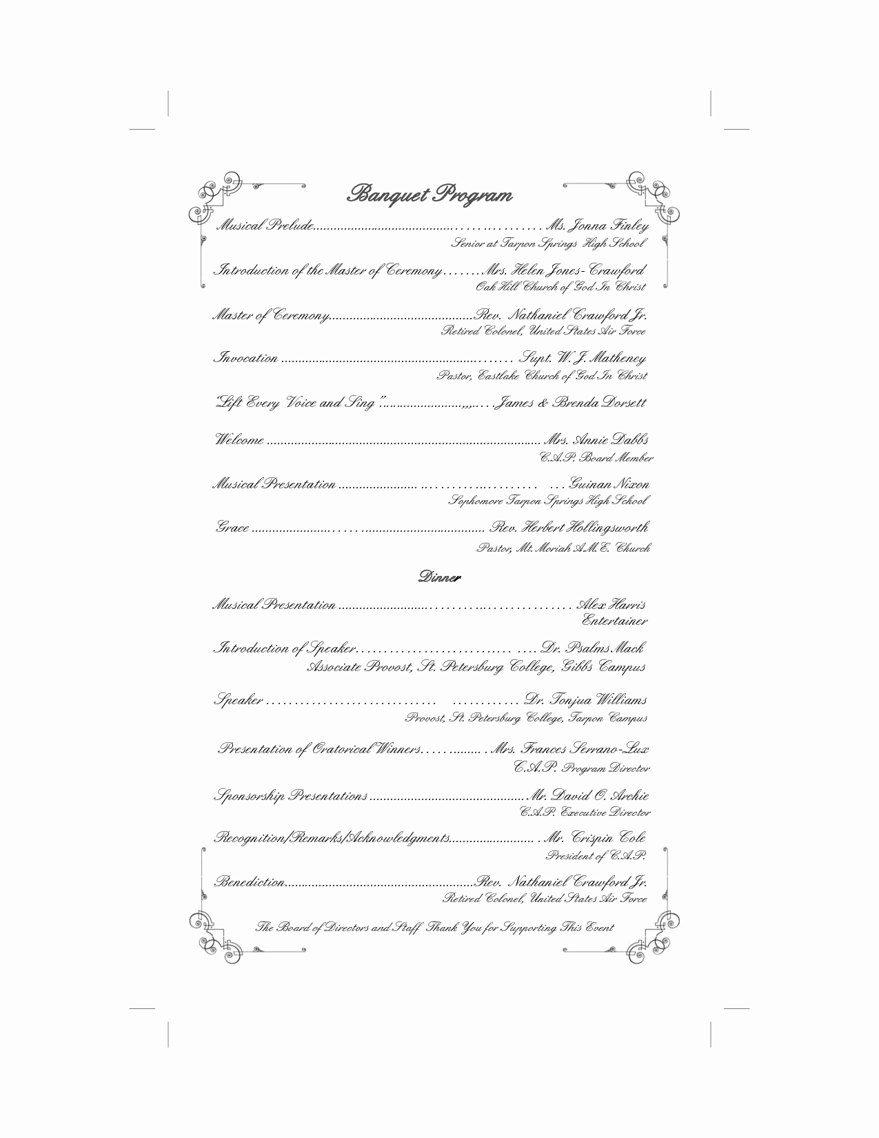 Banquet Program Template Elegant Best S Of Pastor Retirement Program Retirement