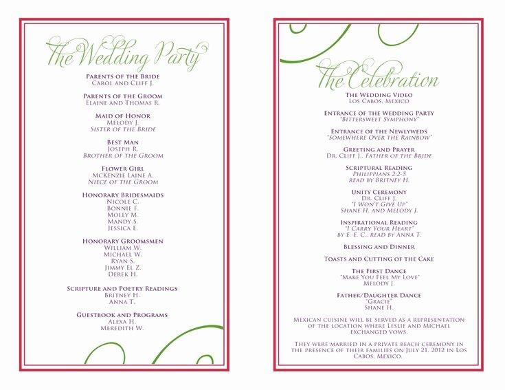 Banquet Program Template Elegant Wedding Itinerary Templates Free