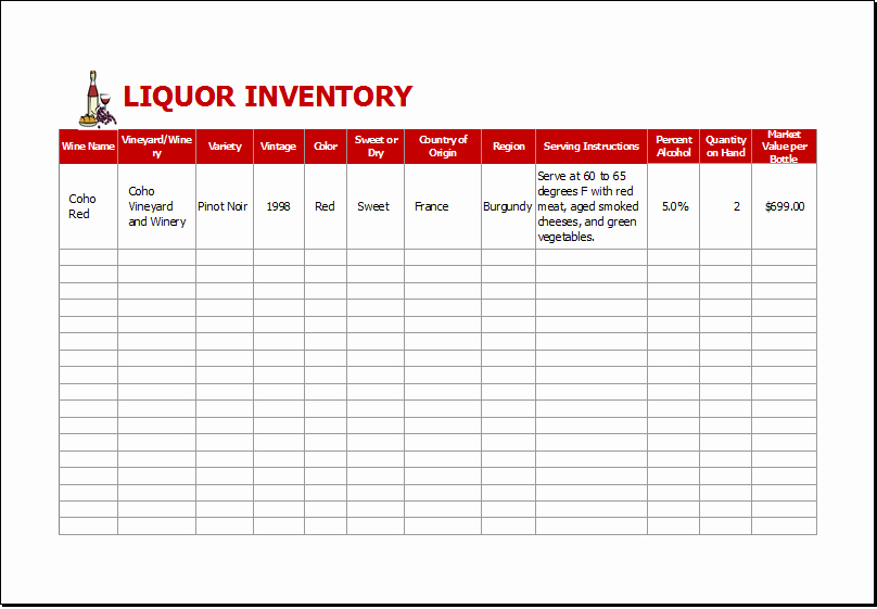 Bar Inventory Template Awesome Liquor Inventory Sheet Template for Excel