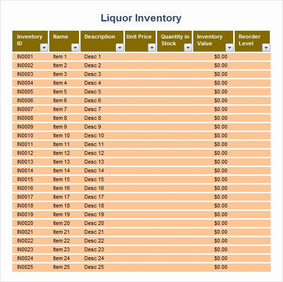 Bar Inventory Template Elegant Liquor Inventory Template 8 Download Free Documents In