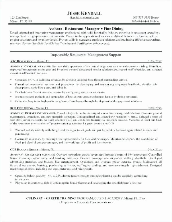 Bar Manager Job Description Resume Beautiful Restaurant Manager Job Description Template