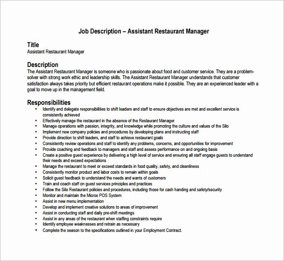 Bar Manager Job Description Resume Beautiful Restaurant Manager Job Description Templates 13 Free