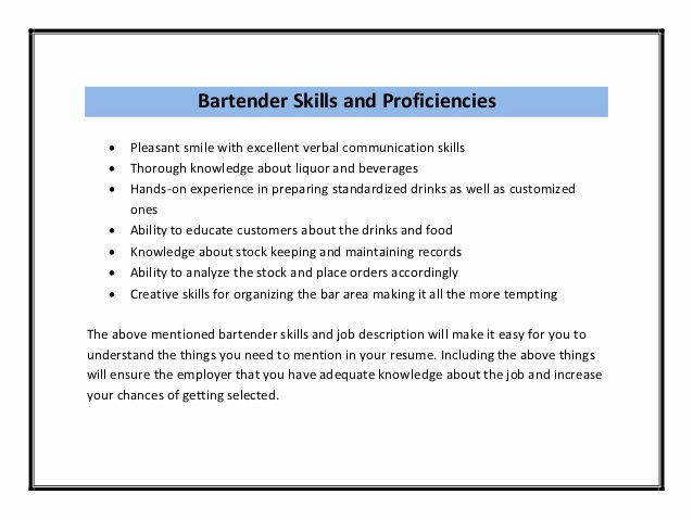 Bar Manager Job Description Resume Elegant Bartender Resume Sample Pdf