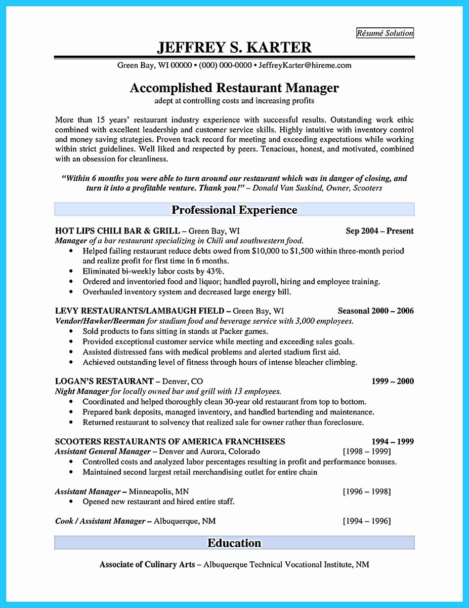 Bar Manager Job Description Resume Elegant Brilliant Bar Manager Resume Tips to Grab the Bar Manager Job