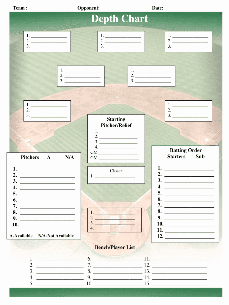 Baseball Depth Chart Template Excel Luxury Baseball Field Lineup Templatepdffiller Fill Line