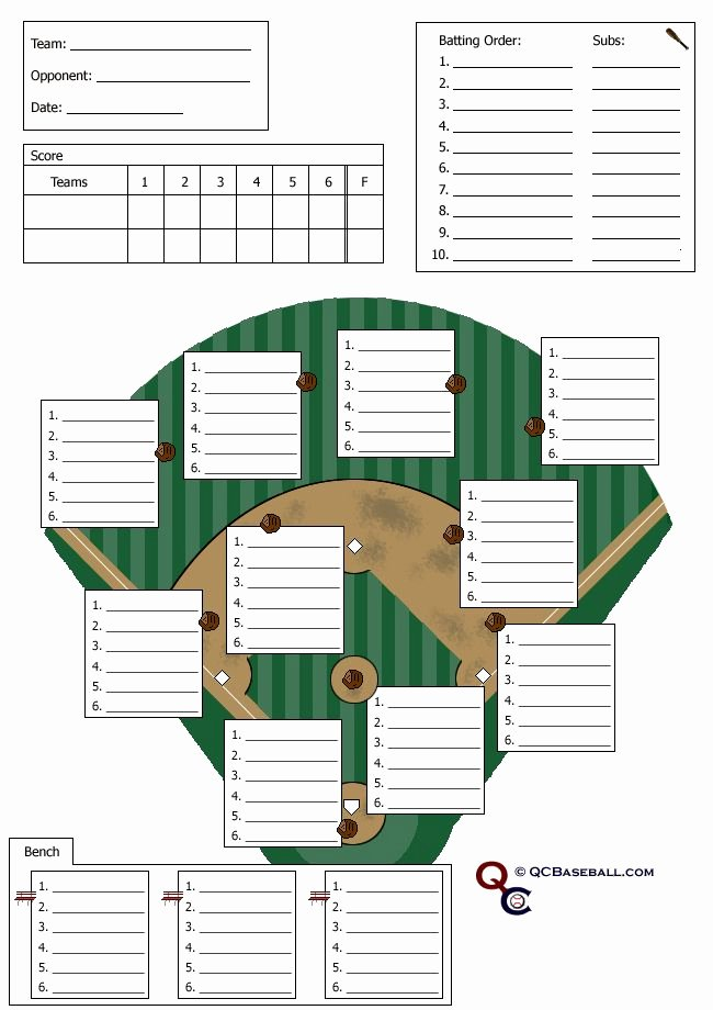 Baseball Depth Chart Template Excel Luxury softball Lineup Card softball Stuff