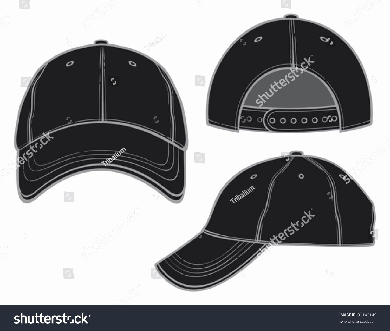 Baseball Hat Vector Luxury Black Baseball Cap Stock Vector Shutterstock