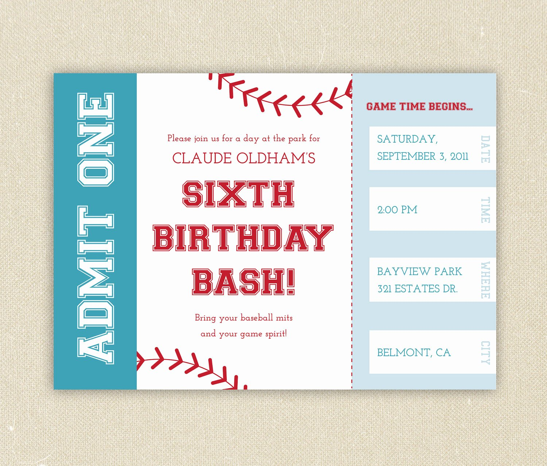 Baseball Ticket Invitation Template Free Awesome Baseball Ticket themed Birthday Party Invitation