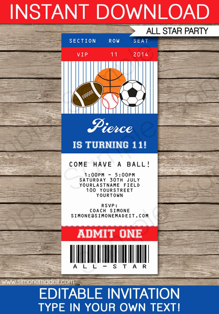 Baseball Ticket Invitation Template Free Elegant All Star Sports Ticket Invitations