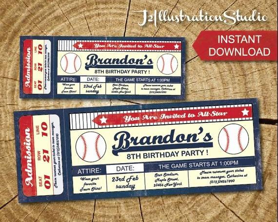 Baseball Ticket Invitation Template Free Luxury Instant Downlod Baseball Ticket Invitation Printable Kid