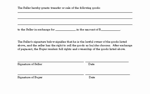 Basic Bill Of Sale Best Of Basic Bill Of Sale form Printable Blank form Template