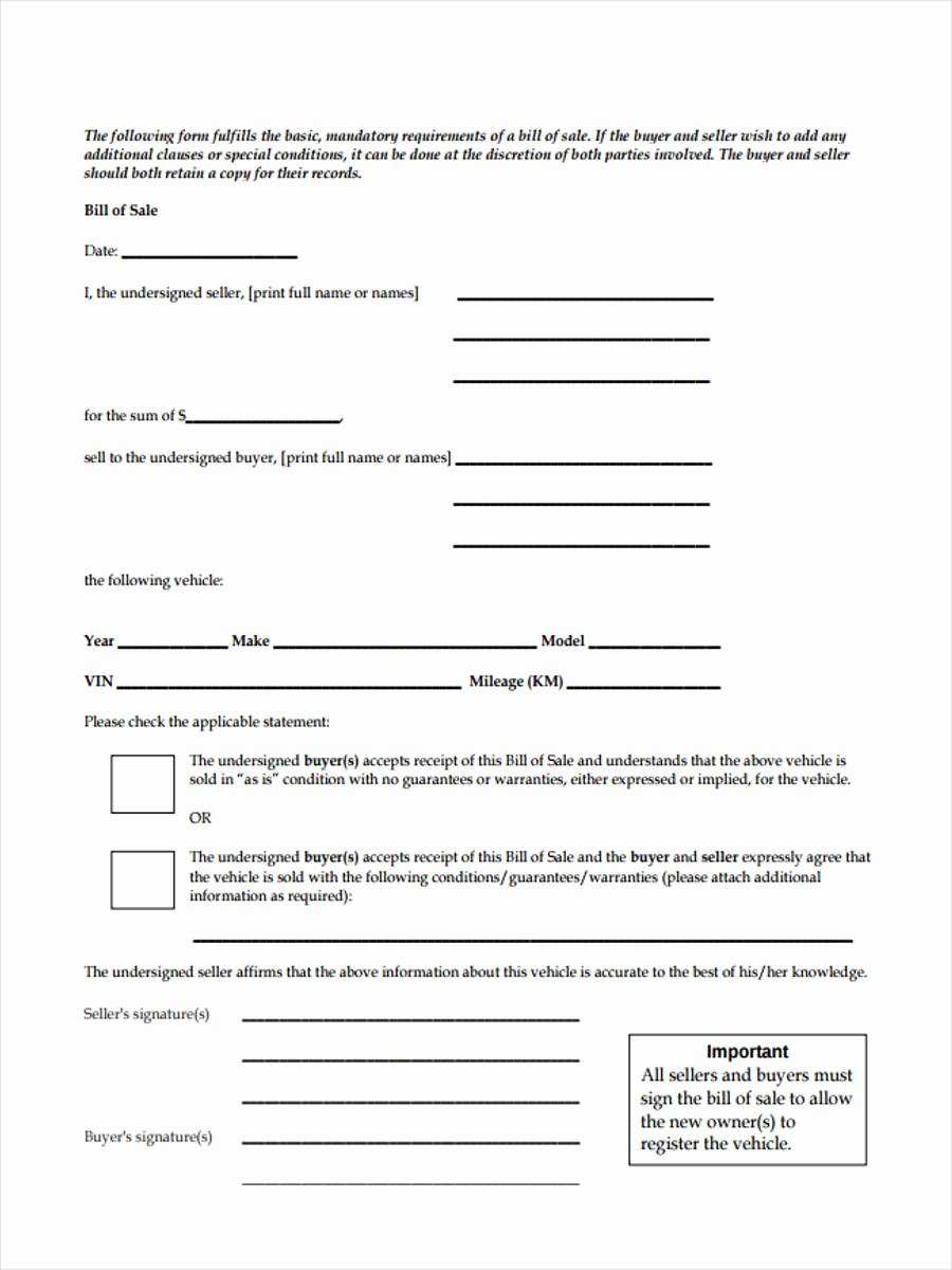 Basic Bill Of Sale Elegant Business Bill Of Sale forms 7 Free Documents In Word Pdf