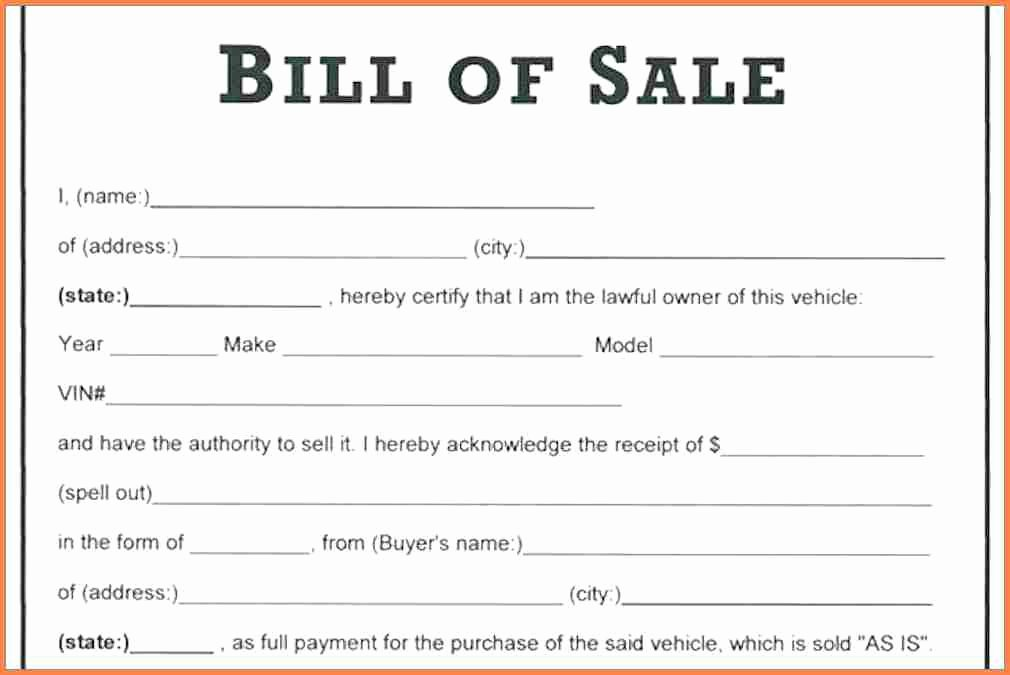 Basic Bill Of Sale Inspirational 14 Simple Bill Of Sale for Vehicle