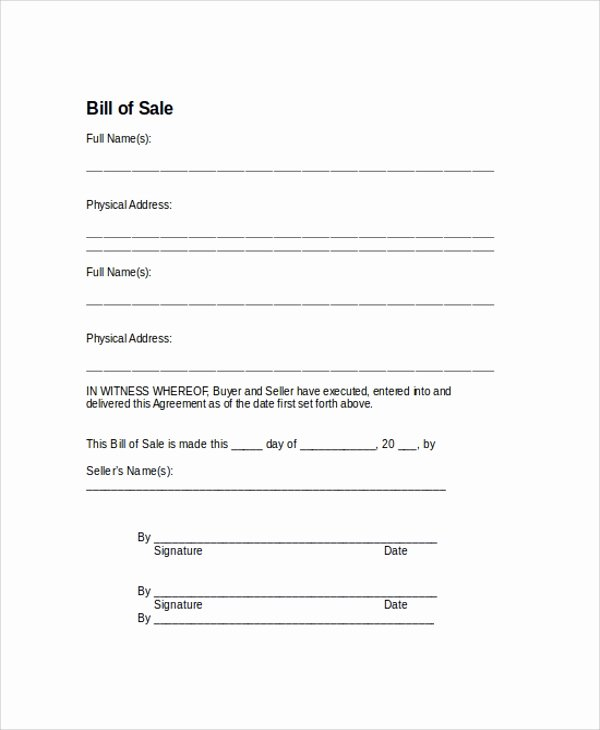 Basic Bill Of Sale Luxury Sample Bill Of Sale form 9 Examples In Pdf Word