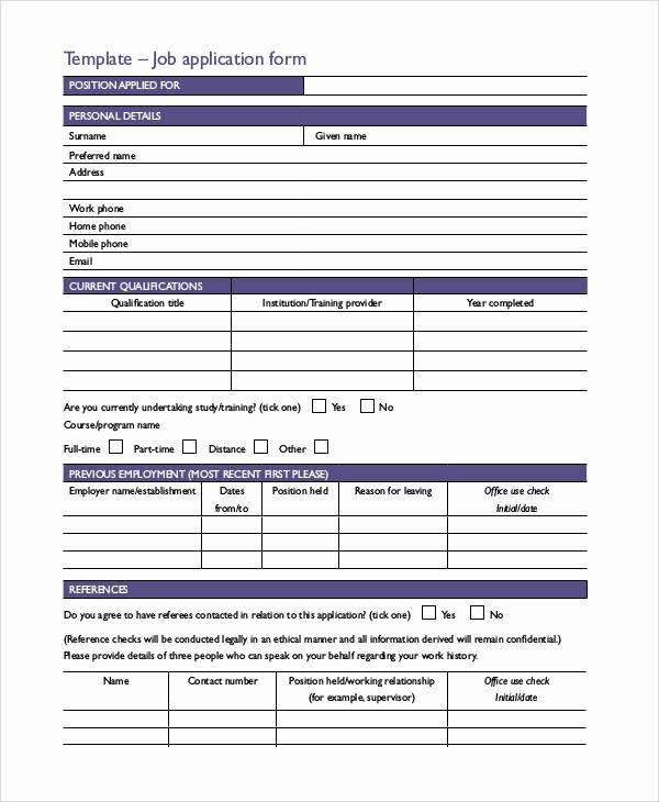 Basic Job Application Awesome Basic Application forms