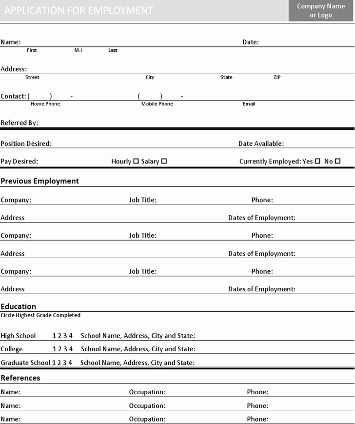 Basic Job Application Best Of Basic Job Application Template Free Download