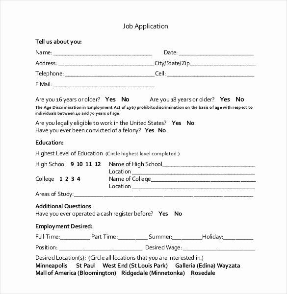 Basic Job Application Fresh 21 Employment Application Templates Pdf Doc