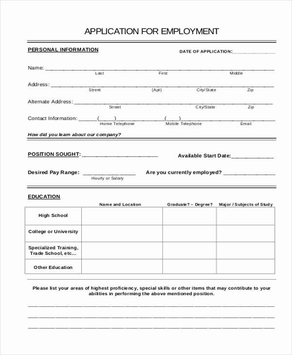 Basic Job Application Inspirational Basic Application forms
