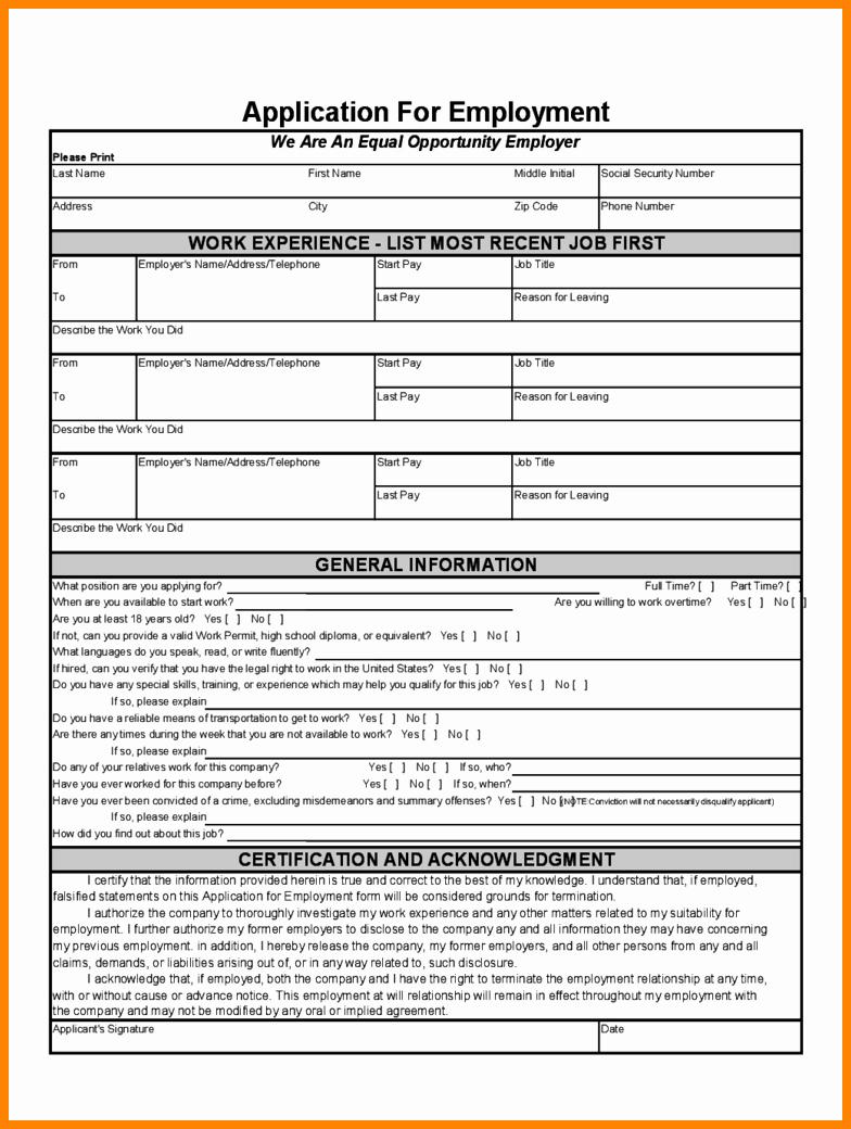 Basic Job Application Luxury Basic Job Application form Pdf