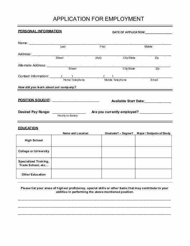 Basic Job Application Luxury Basic Job Application Printable