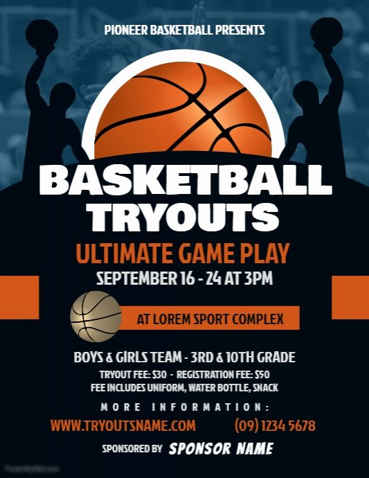 Basketball Camp Flyer Template Awesome Basketball Tryouts Flyer Template