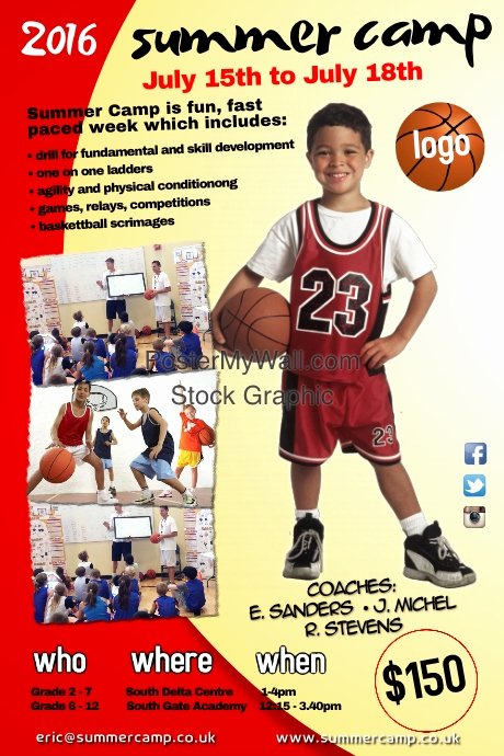 Basketball Camp Flyer Template Elegant Summer Camp Poster Template
