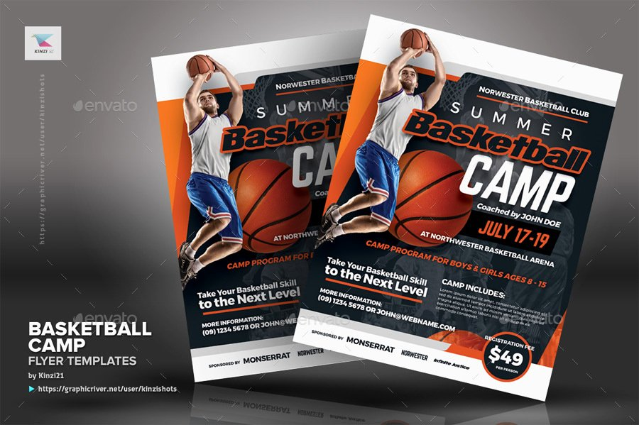 Basketball Camp Flyer Template Unique Basketball Camp Flyer Templates by Kinzishots