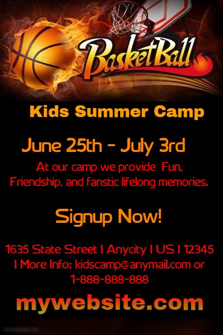 Basketball Camp Flyer Template Unique Kids Basketball Camp Template