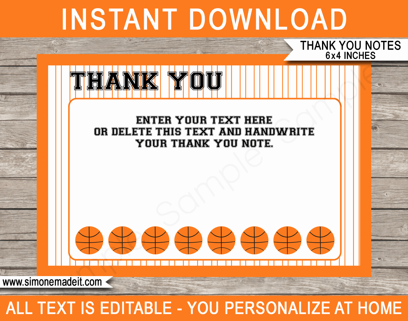 Basketball Card Template Lovely Printable Basketball Party Thank You Cards