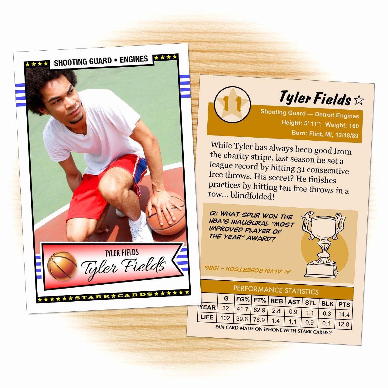 Basketball Card Template Unique Custom Basketball Cards Retro 50™ Series Starr Cards