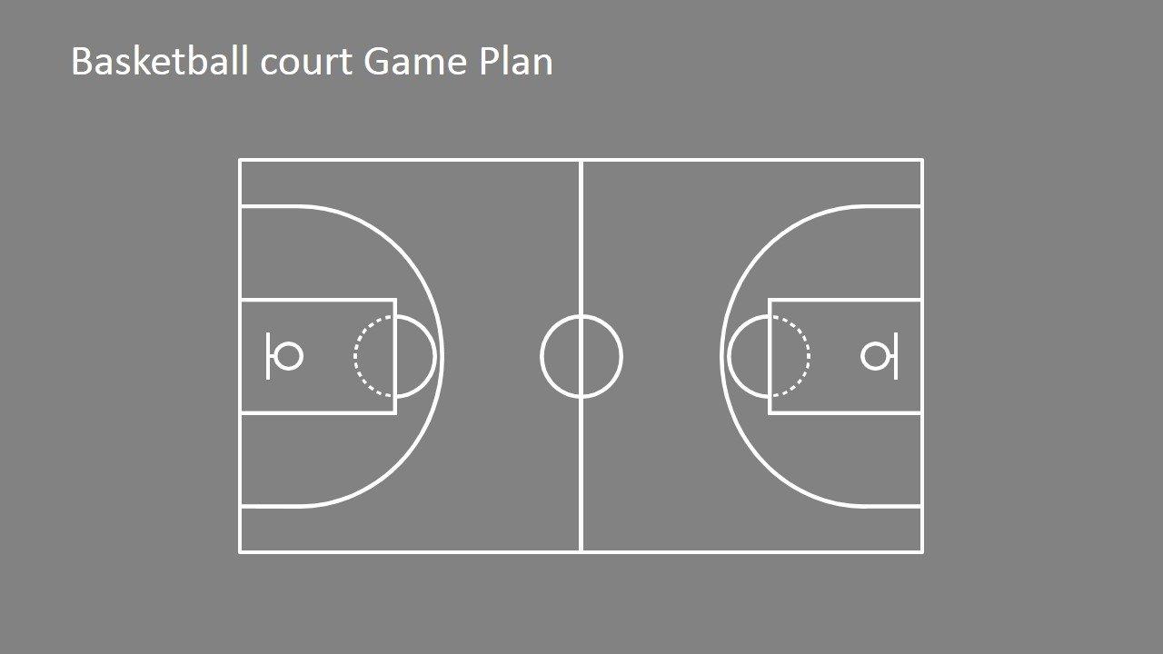 Basketball Court Design Template Beautiful Basketball Court Game Plan Powerpoint Shapes Slidemodel